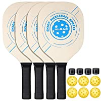 Albad Pickleball Paddle Durable Bundle, Premium Pickle Ball Paddle & Ball Set, Professional Power Indoor & Outdoor Rackets (Includes 4 Wood Paddles & 6 Balls Pickleball 1 Carry Bag Set)
