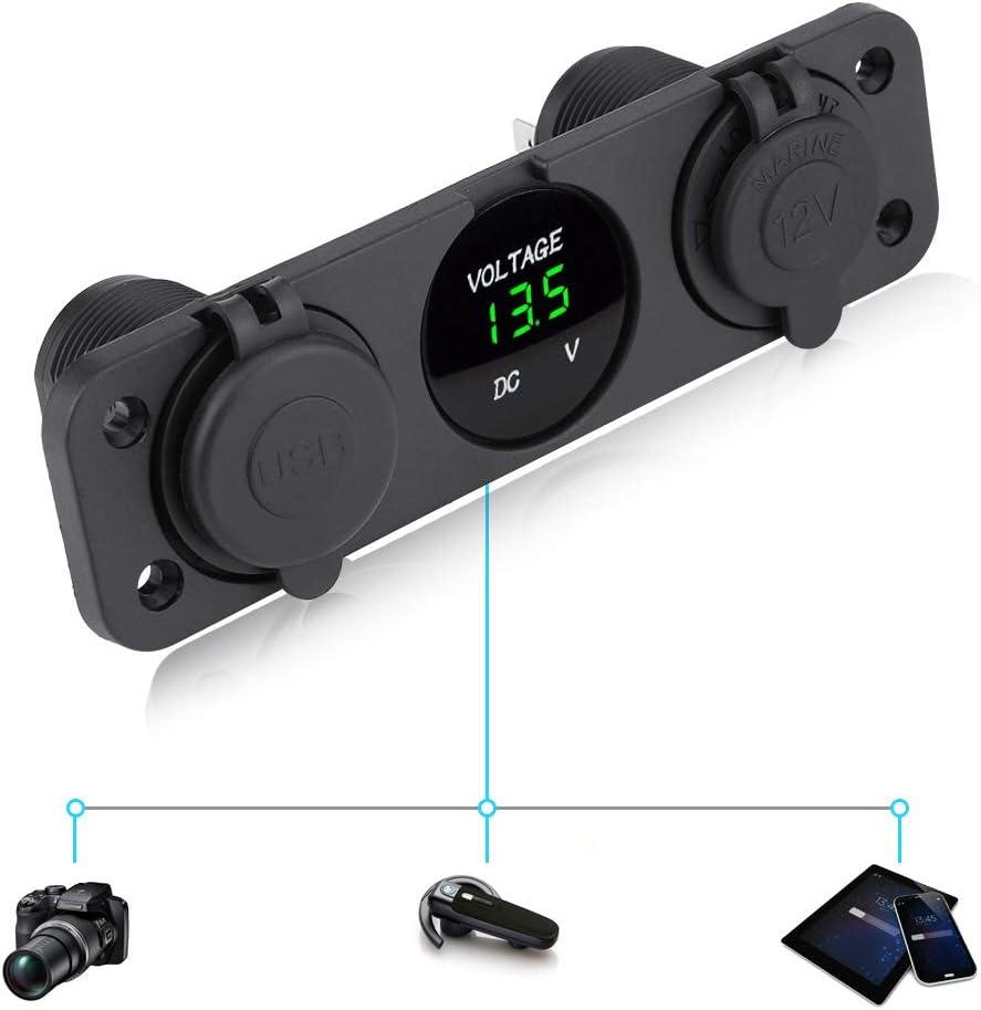 12-24V LED Dual USB Chargeur Voltm/ètre Allume-cigare Power Outlet pour voiture bateau Marine KIMISS Voltm/ètre num/érique LED Rouge