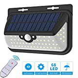 Solar Lights Outdoor, Motion Sensor Wall Lights with 68 Super Bright LED, Wide Angle,Remote Control,Wireless Waterproof Solar Lights Security Lights for Front Door,Patio,Deck,Yard,Garden