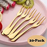 Sherily 20-Pieces Salad fork Set ,Dinner Forks Set, 8 -Inch Golden Reusable Metal Stainless Steel Extra-Fine Korean Dinner Forks (20-Gold)