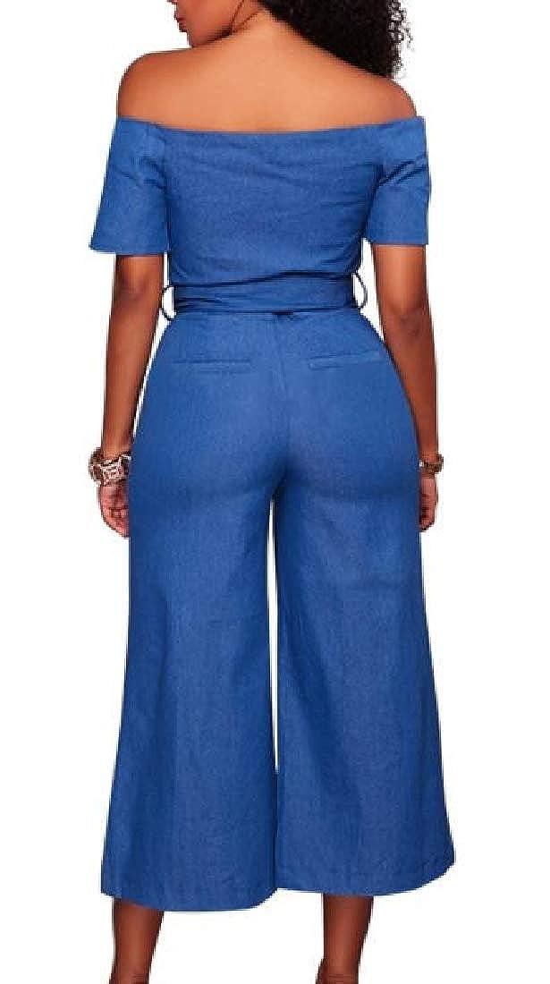 MOUTEN Womens Belted Wide Leg Off The Shoulder Casual Zipper Denim Long Jumpsuits