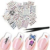 #10: KINGMAS 50 Pcs Different Styles Pattern DIY Nail Art Stickers Transfer Watermark Nail Stickers with Tweezers