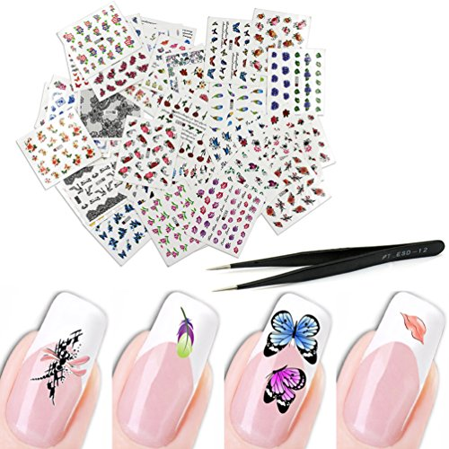 KINGMAS 50 Pcs Different Styles Pattern DIY Nail Art Stickers Transfer Watermark Nail Stickers with Tweezers -