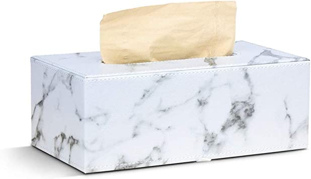 Mailain Distributeur Bo/îte /à Mouchoir en PU Cuir Blanc