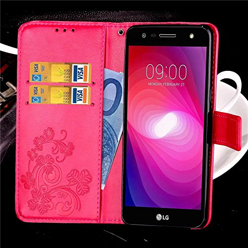 2 Custodia X TPU LG Rosa Portafoglio Bumper Cuoio X Morbido Clover per Sottile Marron LG Power2 Pelle LG Magnetico X Cover Silicone Power Custodia fortunato M320G Flip Protettivo Borsa Charge LEMORRY qBtA5wZnw