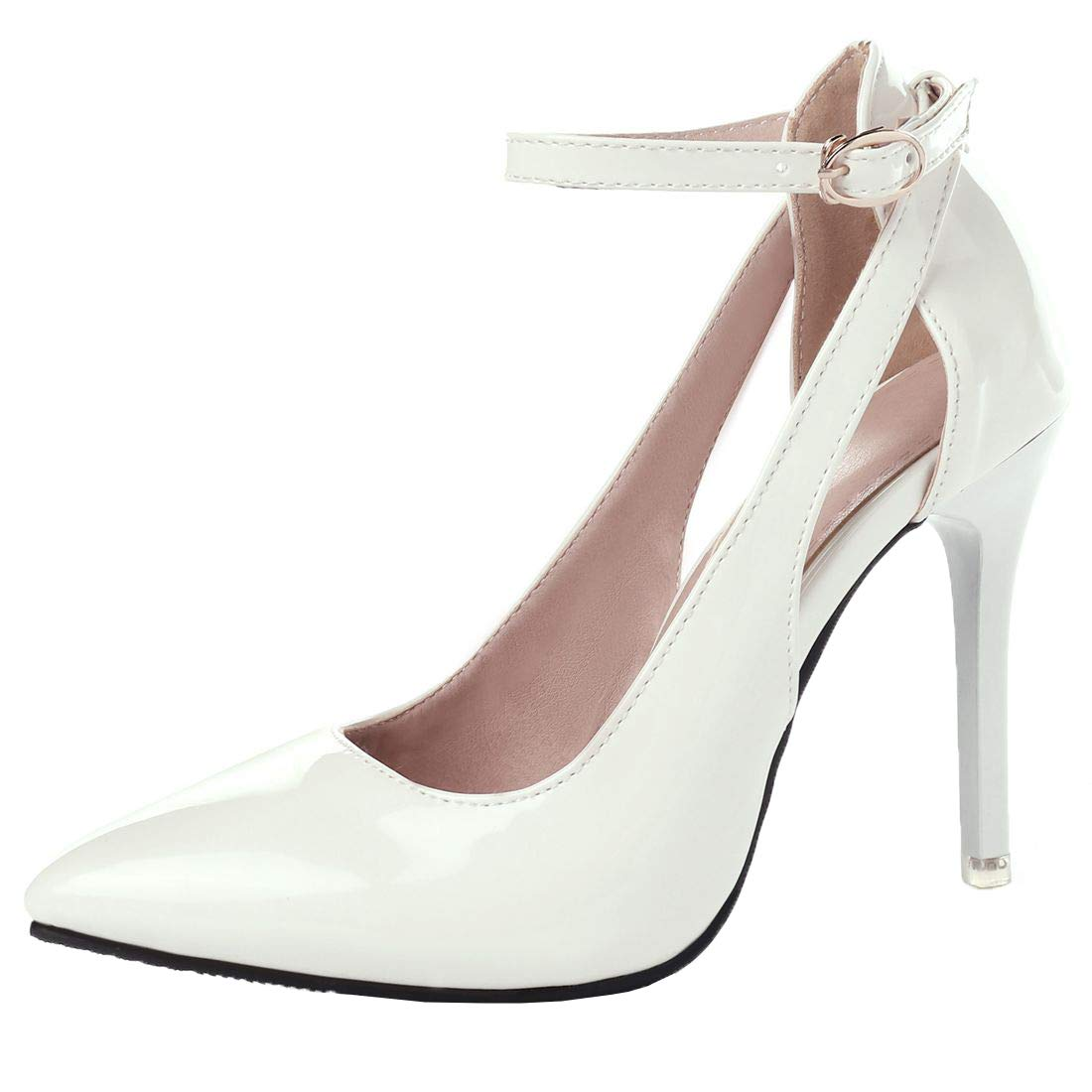 Vitalo Womens Patent Stiletto High Heel Pumps Pointy Toe Ankle Strap Court Shoes