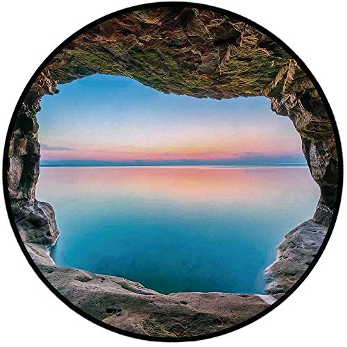 Dalyn Natural (Printing Round Rug,Natural Cave Decorations,Fairy Image of the Horizon Inside Hidden Grotto Upper Paradise Point Tranquil Life Mat Non-Slip Soft Entrance Mat Door Floor Rug Area Rug For Chair Living R)