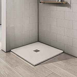 DOCCIAVIVA Plato de Ducha Recortable de Resina Blanca 90 x 90 x 3 cm: Amazon.es: Hogar