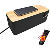 Cable Management Box, Calife Bamboo Lid Cords Organizer, 11.9 x 4.8x 4.6'', Hide Wires Power Strips Chargers, Surge…
