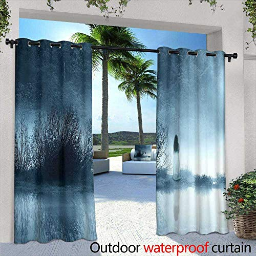 berrly Outdoor Blackout Curtains,Halloween Background Spooky Forest with Full Moon and Wooden Table,W84 x L108 for Patio Light Block Heat Out Water Proof -