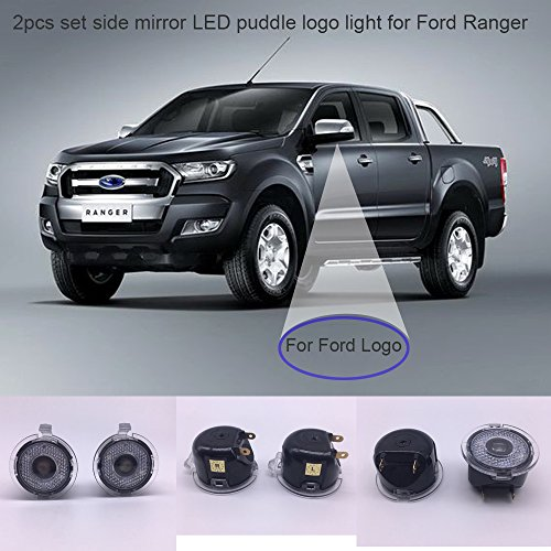 2pcs set Side rear view mirror puddle logo lights compatible for Ford Ranger Raptor 2008-2018year 2018 raptor,2017 black Edition