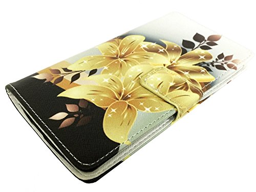 For TracFone Alcatel Pixi Unite A466BG Wallet Card Phone Cover Case + Gift Stand (Wallet Yellow Lily)