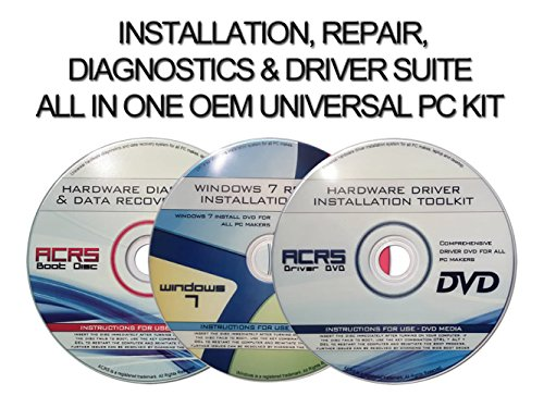 Universal 3 Disc Set For Install, Recovery, & Repair All Windows 7 Versions-Hardware Diagnostics & Drivers by...