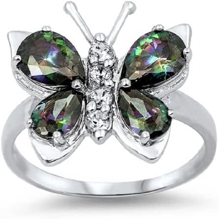 Sterling Silver Simulated FIRE Rainbow Topaz Mystic BUTTTERFLY Shape with CZ Ring-SIZE 5-9