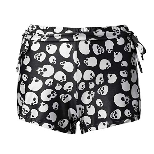 TOPUNDER Mid Waist Gym Pants Women Sports Skull Printed Stretch Elastic Shorts Leggings Black