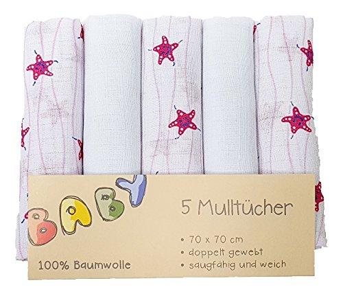 5er Pack Mullwindeln Mulltü cher 5 Stü ck Spucktuch Tü cher Baby Tuch Windeln - Seestern