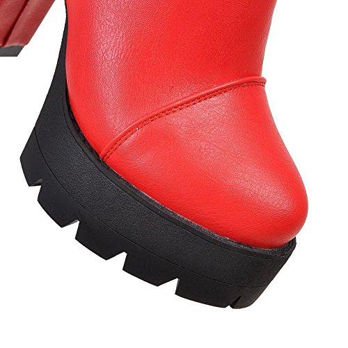 AllhqFashion Mujeres Tacón Alto Puntera Redonda Material Suave Cremallera Botas Rojo