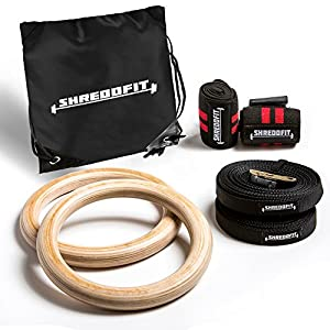 2018 SHREDDFIT Premium training rings VALUE PACK | Bonus Wrist Wraps & Carry Bag | Adjustable straps | Gymnastics | Home & Gym Fitness | WOD | Pull Ups & Muscle Ups | Cross Training
