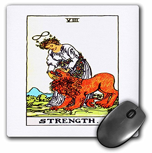 Price comparison product image 3dRose LLC 8 x 8 x 0.25 Inches Mouse Pad, Tarot Card the Strength (mp_62442_1)