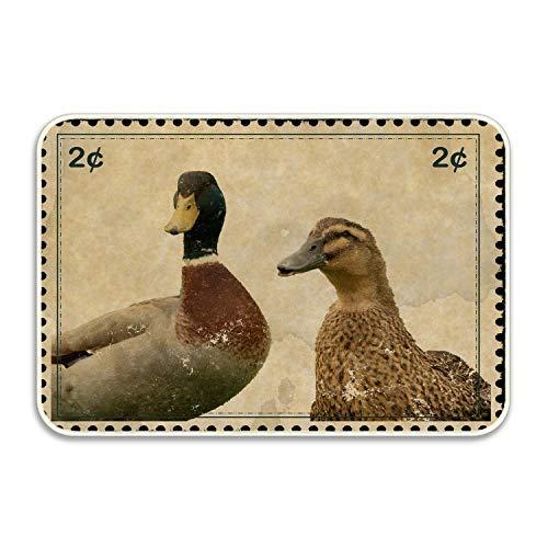 KunnPillowcase Stamp Postage Vintage Mallard Duck Absorbent Anti-Slip Mat Indoor/Outdoor Decor Rug Doormat 24x16 Inch Home Decor