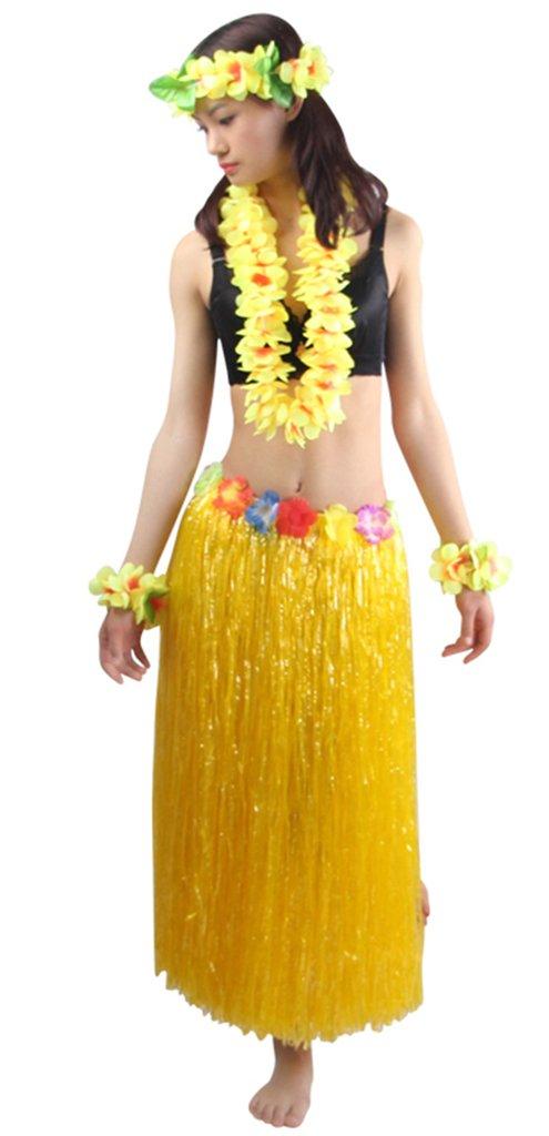 Good Quality 5pcs/ set Women's Hawaiian Luau 80cm yellow grass hula skirt