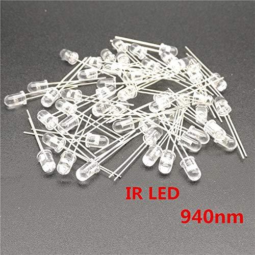 YOULITTYing 100 Pcs 940 IR LED infravermelho 5 mm 940nm Output Infrared Emitters Phototransistor Optical Sensor Through Hole
