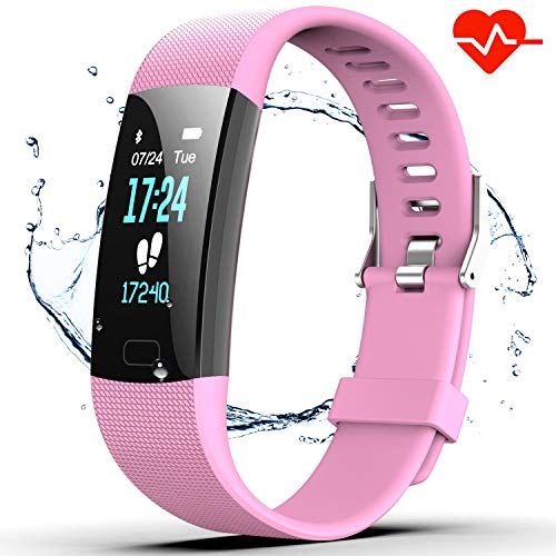 Fitness Tracker HR, Y1 Activity Tracker Watch with Heart Rate Monitor, Pedometer IP67 Waterproof Sleep Monitor Step Counter for Android & iPhone (Pink) (Pink Tft Monitor)