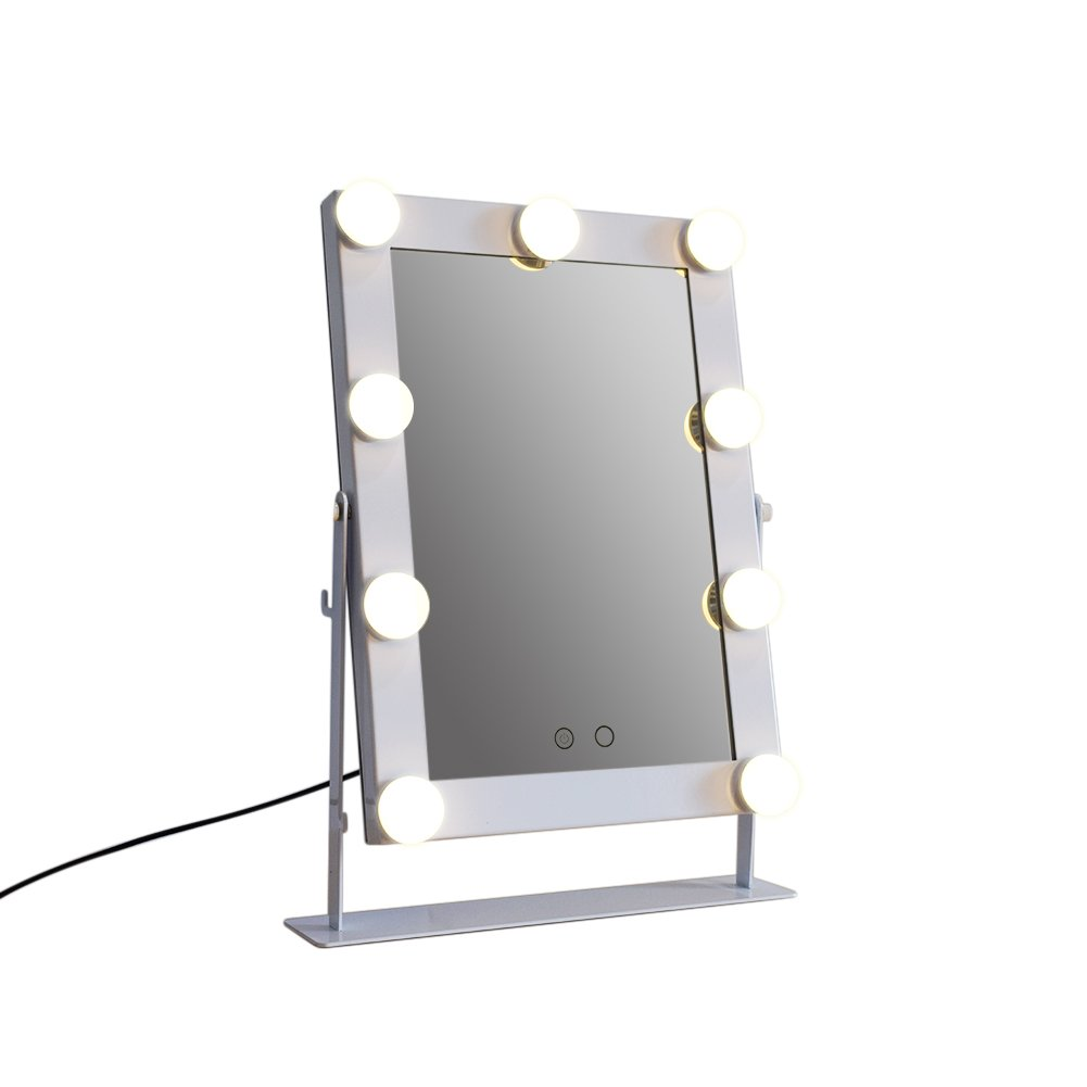 TrendSpotter Hollywood Lighted Makeup Mirror for Tabletop with LED Bulb & Dimmer, USB Powered White
