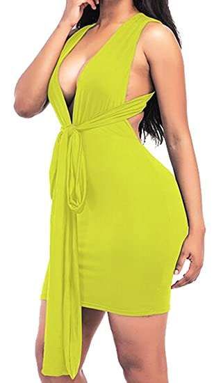 91a4285e010e Amazon.com  Oberora-Women Stylish Deep V-Neck Backless Bandage Solid Club  Cocktail Bodycon Dress Yellow S  Clothing