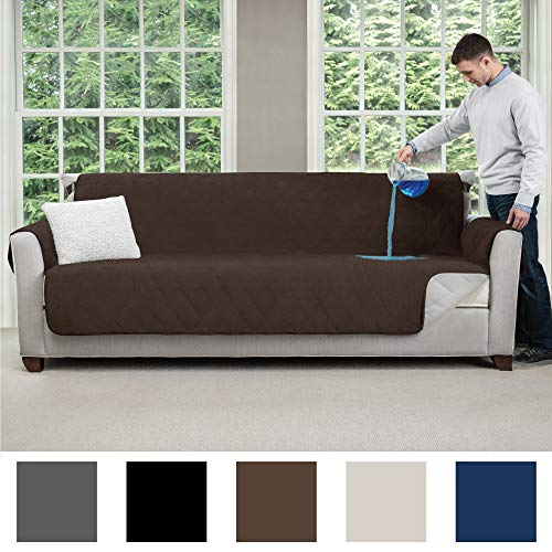 MIGHTY MONKEY Premium Slip and Water Resistant Oversize Sofa Slipcover, Seat Width Up to 78 Inch, Oeko Tex Certified, Suede-Like, Absorbs 6 Cups of Water, Cover for Couches, Sofa, Chocolate