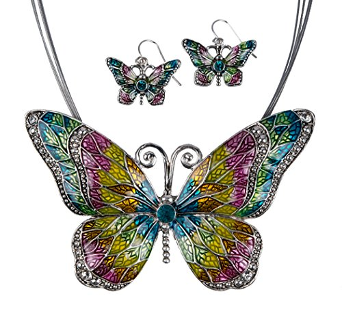 Jewelry Nexus Multicolor Butterfly Pendant Necklace with Enamel Inlay and Matching Earrings Set