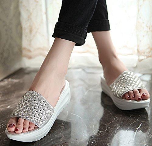 IDIFU Womens Fashion Rhinestone Mid Wedge Slide Sandals Beach Platform Slippers Silver Hv89d