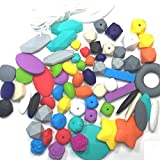 75PC Silicone Chew Bead Crafting Set, Assorted Colors, Shapes & Sizes, Includes Nylon Rope & Clasps for Necklaces and Bracelets, Starter Kits (Super)