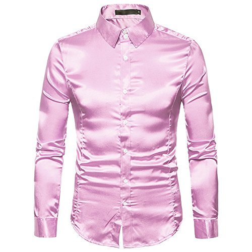 Silk Espadrille (Simayixx Flex Shirts Men Casual Party Club Dress Shirt Fashion Silk Smooth Long-Sleeve Blouse Tunic Tops Plus Size)