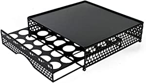BEFFEE Black Sturdy Metal Stylish Designed Coffee Pod K-Cup Pods Storage Drawer Holds 36 Coffee Pods