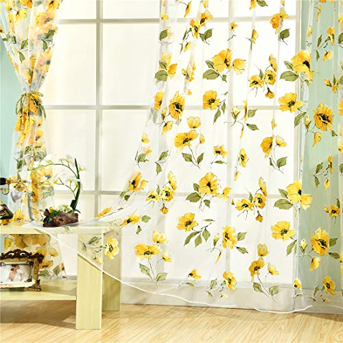 HMANE 1x2M Sheer Voile Shade Curtain Offset Print Tulle Window Door Drape Curtain for Bedroom Living Room Balcony Coffee House - Size 2 Panels/Sunflower B ()