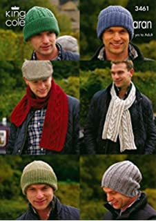 1f74ca540cb King Cole Mens DK Chunky Knitting Pattern Ribbed   Striped Hats ...