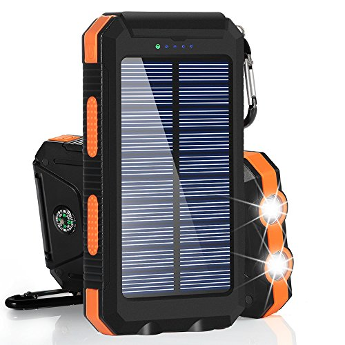 Solar Charger, BESWILL 10000MAH Solar Phone Charger Waterproof Portable External Battery Pack Dual USB Solar Power Bank with 2 Flashlights Carabiner and Compass with iPhone and other smart devices