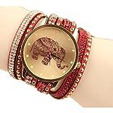 Shensee New Simple Velvet Diamond Bracelet Watch Ladies Watches High Elephant Pattern Red