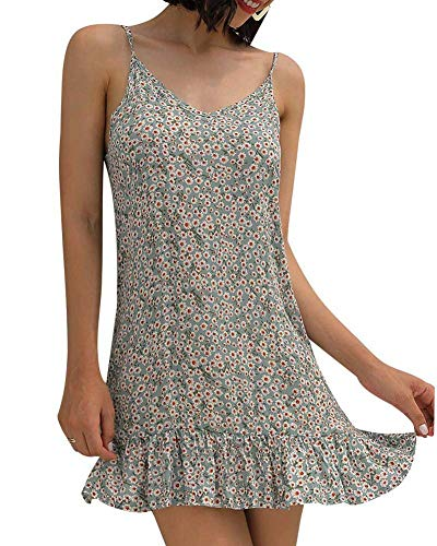 Womens Casual Boho Floral Swing Short Shift Beach Midi Dress Spagehetti Strap Sundress White