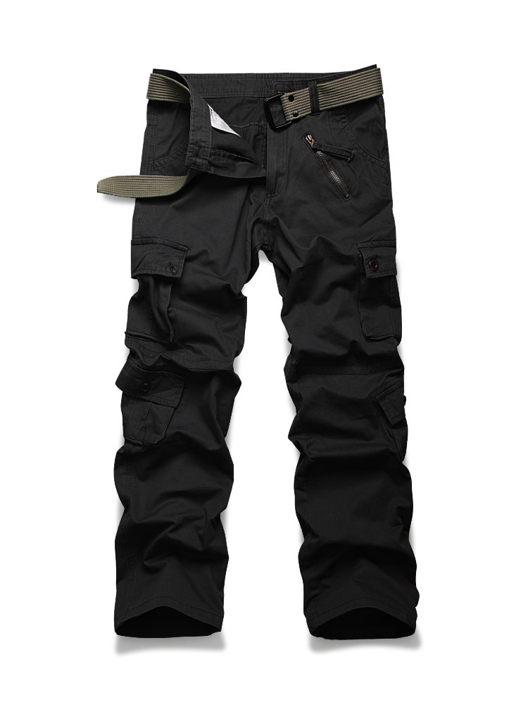 OCHENTA Mens Cotton Military Cargo Pants 8 Pockets Casual Work Combat Tactical Trousers