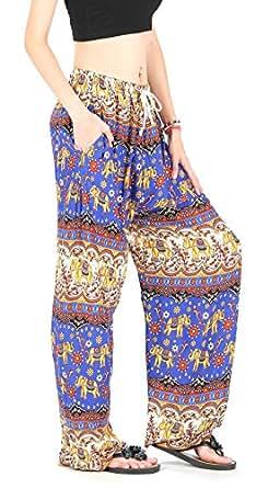 CandyHusky de rayón un tamaño de la mujer y elefante de flores, ejercicio Boho Hippie yoga harén pantalones pantalones negro azul Talla única