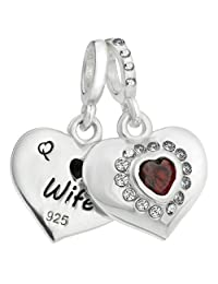 925 Sterling Silver Husband & Wife Love Heart Red Cubic Zirconia European Style Dangle Bead Charm Fits Pandora