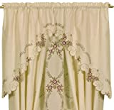 Cheap Today's Curtain Verona Reverse Embroidery Window Swag, 38-Inch, Ecru/Rose