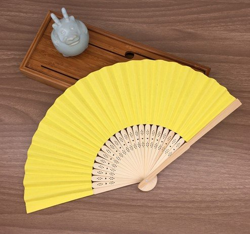 Yellow Mulit Colors Paper Bamboo Folding Hand Fan Decoracion Fiestas Decoration Mariage Abanicos Para Boda by Hand Fan