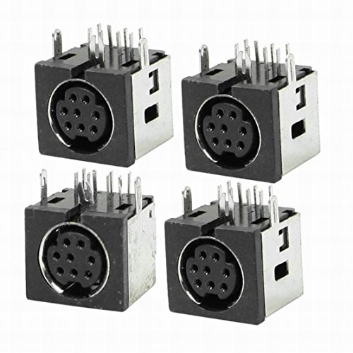 Uptell 4 Pcs Metal Case S-Video 8 Pin Female PCB Mount Mini Din Sockets