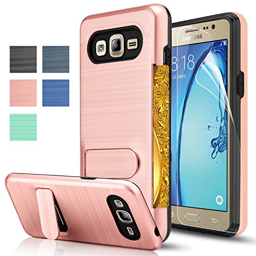 Galaxy On5 Case With HD Screen Protector,[Card Slots Holder][Not Wallet] Kickstand Hard Plastic PC TPU Soft Hybrid Shockproof Heavy Duty Protective Holster For Samsung Galaxy On5/G550 KC1 Rose Gold