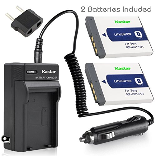 Kastar Battery (2-Pack) and Charger Kit for Sony NP-BD1, NP-FD1, BC-CSD, TRN, TRN-U work with Sony Cyber-shot DSC-G3, DSC-T2, DSC-T70, DSC-T75, DSC-T77, DSC-T90, DSC-T200, DSC-T300, DSC-T500, DSC-T700