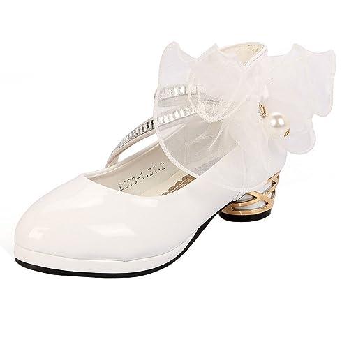 code promo 756f2 6c59e Amur Leopard Fille Chaussure à Talon Sandales Enfant Ballerine Princesse  Déguisement Fleur pour Mariage Ceremonie soirée