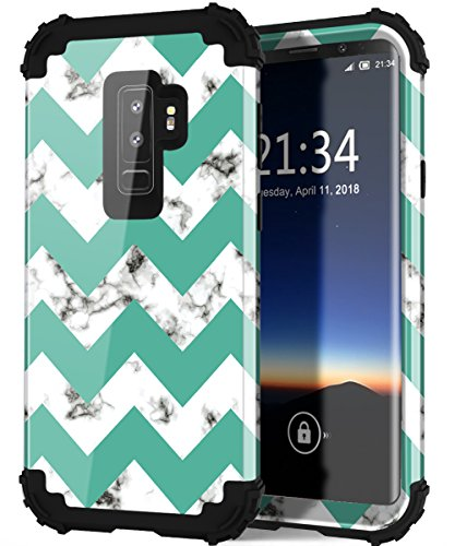 Galaxy S9 Plus Case with Marble Design, Hocase Heavy Duty Shockproof Protection Anti-Scratch Plastic Hard Shell+Silicone Rubber Phone Case for Samsung Galaxy S9 Plus - Gloss Marble/Teal Chevron
